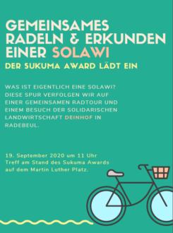 Fahrradtour zum Hof der Solawi dein Hof (in Radebeul) @ Treffpunkt: 01099 Dresden-Neustadt, Martin-Luther-Platz, am Stand vom Sukuma Award